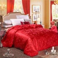 2018 красные розы вышивка кружева границы 100% шелк тутового Стёганые одеяла Стёганое Одеяло Лето Зима queen король Шелковый Смешанный хлопок