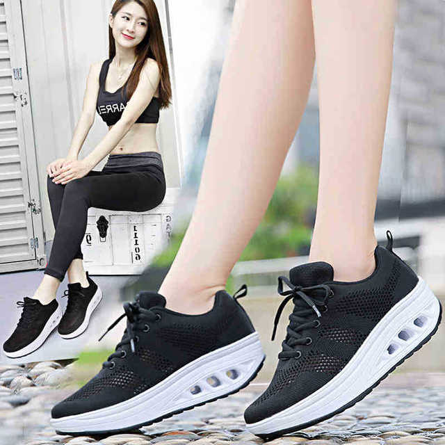 2018 New Lady Shaking Shoes Women s Leisure Sports Sneakers Shoes Net  Breathable Running Shoes Summerr Korean c54d4a3bf