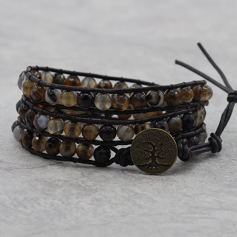 Coffee onyx bead bracelet BOHO leather wrap bracelet 6mm beads bracelet Friendship Gift dropshipping naturalstone wraps beads
