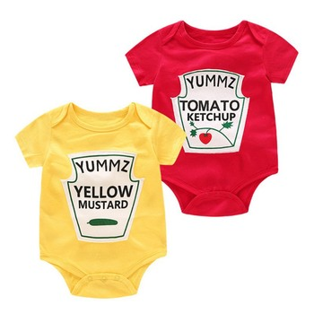 Baby Rompers Twins Boys Girls Rompers Cute Vegetable Print Romper for Newborns Cotton Baby Costume Casual Clothes