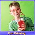 1 conjunto Louco Palha Novidade Itens Multi-cores Fun Beber Exclusivos Flexíveis Novidade Macias Óculos Óculos engraçados Óculos Canudo tubo