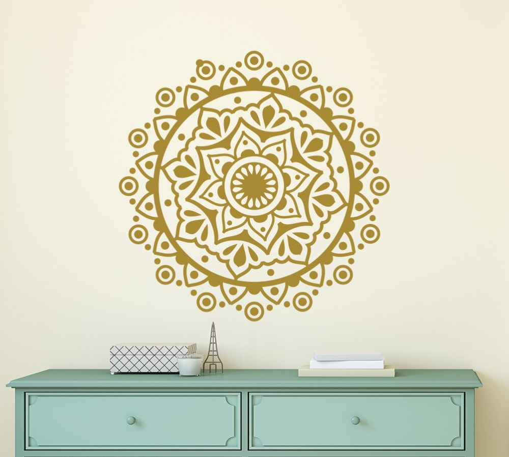 Bohe Mandala Flower Wall Paper Decor Yoga Studio Vinyl: Mandala Flower Vinyl Wall Stickers For Yoga Studio Wall