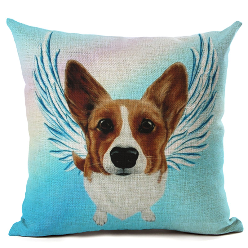 Cartoon Dog Pet Blue Pillowcase Cushion Cover Square Throw Pillowcase Car Seat Decorative Sofa Home Decor F