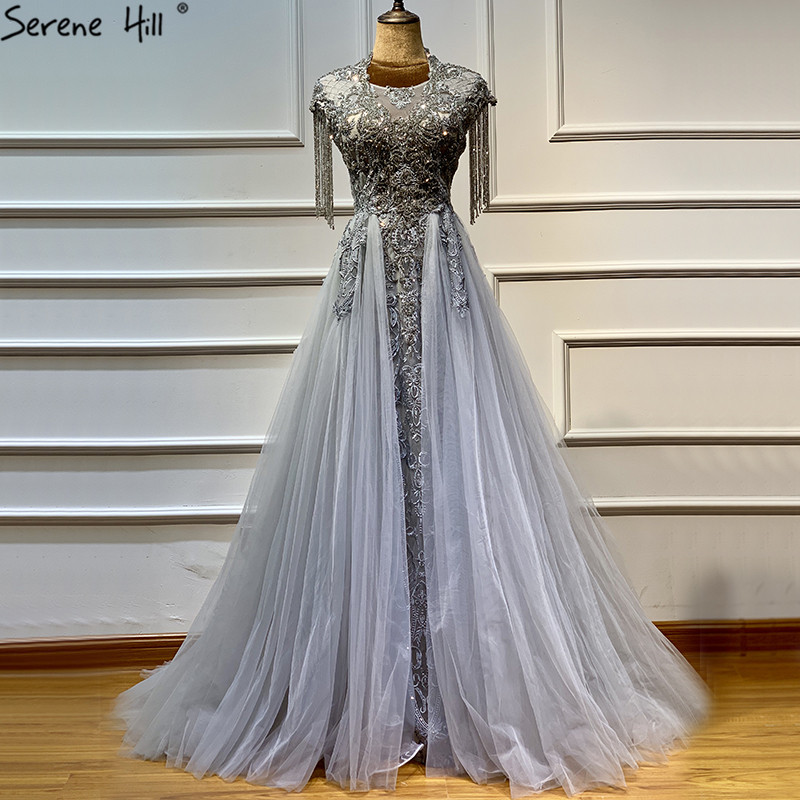 Dubai Gold Beading Pearls Luxury Evening Dresses 2019 Latest Design V-neck Sleeveless Sexy Evening Gowns Serene Hill La60896 Weddings & Events