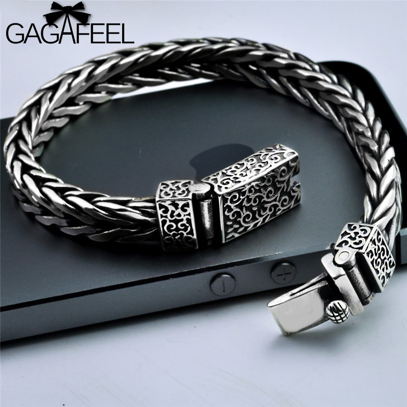 GAGAFEEL Vintage Thai Silver Men's Silver Handmade Bracelets Punk Personality S925 Sterling Silver Weaving Bracelets Jewelries thai silver bracelets