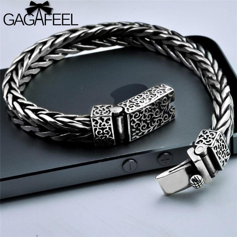 GAGAFEEL Vintage Thai Silver Men's Silver Handmade Bracelets Punk Personality S925 Sterling Silver Weaving Bracelets Jewelries handmade authentic wax bracelets