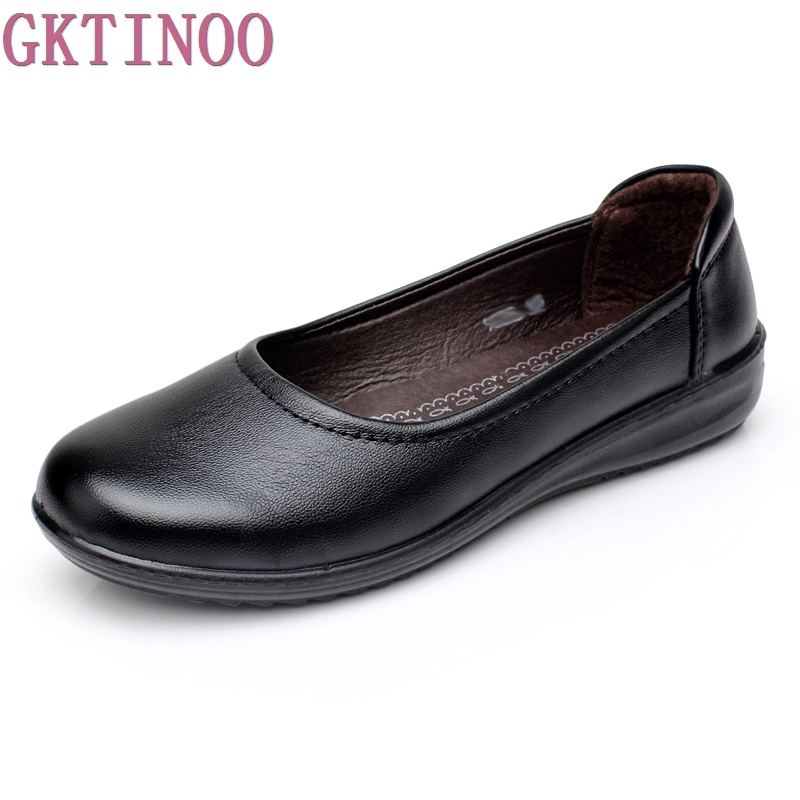 Autumn 2017 Mother s Shoes Comfort Woman Black For Work OL Lady Non slip Flat Women
