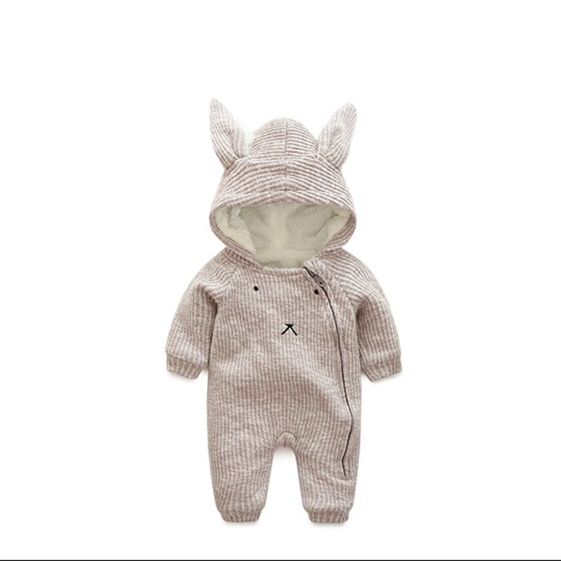 Baby Boys Girls Bunny Hooded Romper Long Sleeve Padded Knitted Jumpsuit Toddler Infant Kid Autumn Winter Warm Velvet Clothes Set