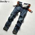 Beswlz Brand Men Denim Jeans Straight Slim Male Cowboy Jeans Pants Fashion Classical Casual Style Men Blue Jeans 9521