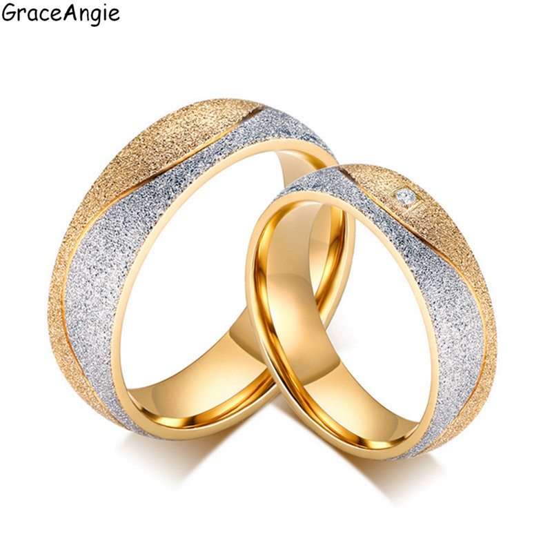 GraceAngie 1PC Stunning Trendy Style Titanium Steel Metal Lovers Rings Stylish Personalized Special Gift for Men Women Birthday