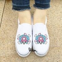 Wen White Black Slip On Shoes Anime One Piece Tony Tony Chopper Canvas Sneakers Mens Womens
