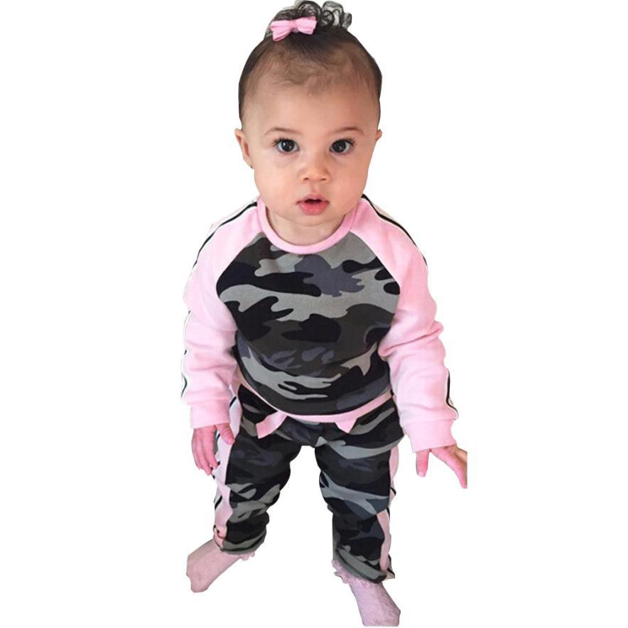 Для маленьких девочек одежда в розницу Новое поступление Симпатичные камуфляжные для новорожденных Детская Футболка Топ + длинные штаны ко...