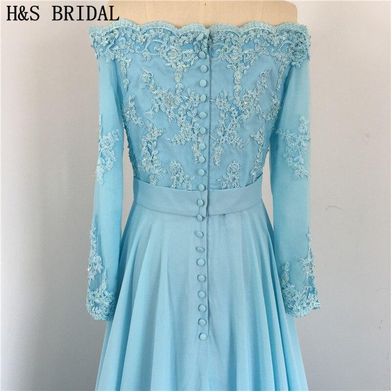 Dos en mousseline de soie bleu élégant avec des boutons drapés perlés épaule dénudée manches longues dentelle sexy robes de demoiselle d'honneur - 6