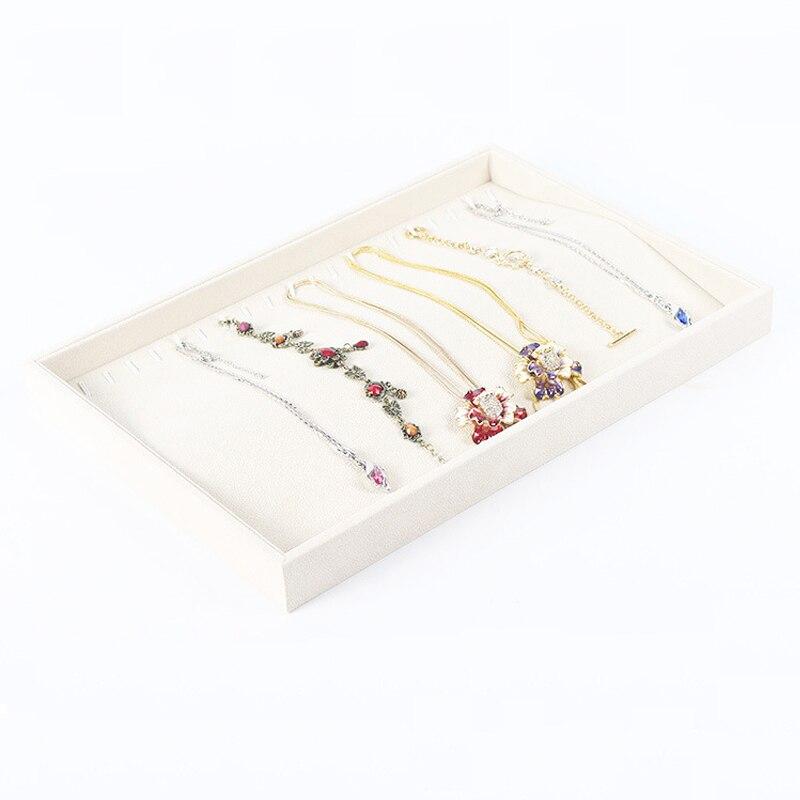 c813f7e1d0ab Moda Beige Collar de Caja de Caja de Collar Colgante Colgantes Organizador  Showcase Exhibición de La Joyería Titular Pendiente de Pie El Envío Libre
