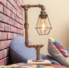 Creative decorative table lamp American industrial style retro personality cafe bar pipe iron adjustable desk lamp LED lighting(China)