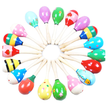 1 PC Mini Wooden Ball Children Toys Percussion Musical Instruments Sand Hammer (Random Delivery)