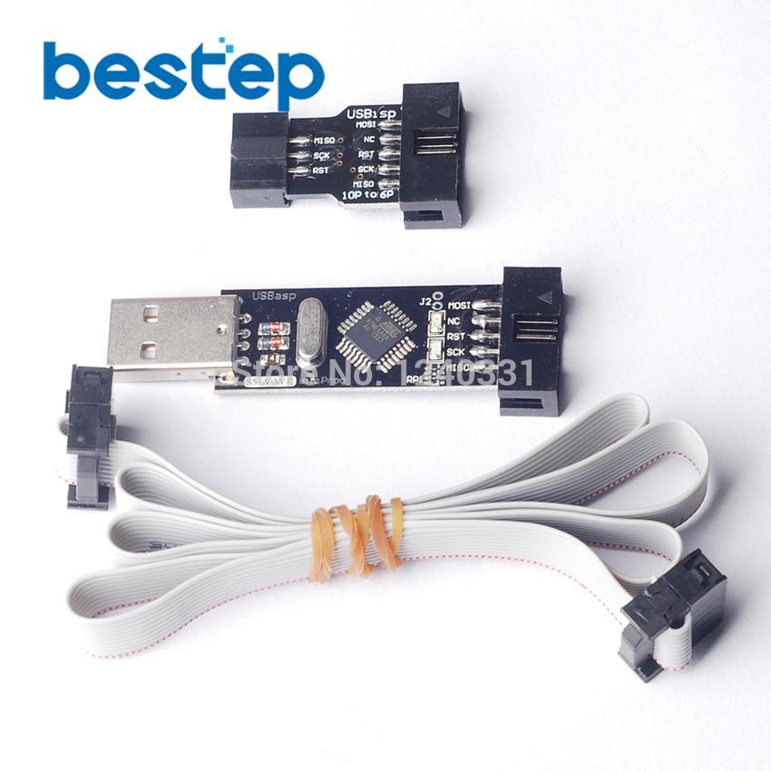 USBASP/USBISP + STK500 10Pin к 6Pin адаптер 3,3 В/5 В AVR программист USB скачать линия ATMEGA128 ATMEGA8 USBASP USBISP AVRISP ...