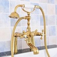 Torneiras da banheira de luxo ouro bronze torneira do chuveiro da banheira deck montar banho misturador do chuveiro bica giratória com chuveiro mão
