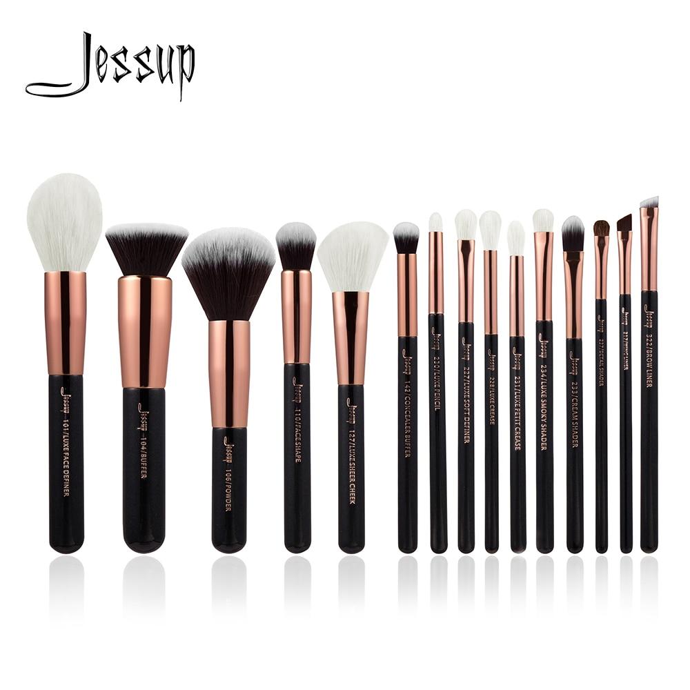 Jessup spazzole In Oro Rosa/Nero Pennelli Trucco Professionale Make up Brush set Cosmetici Powder Foundation Definitore Della Fodera di Shader