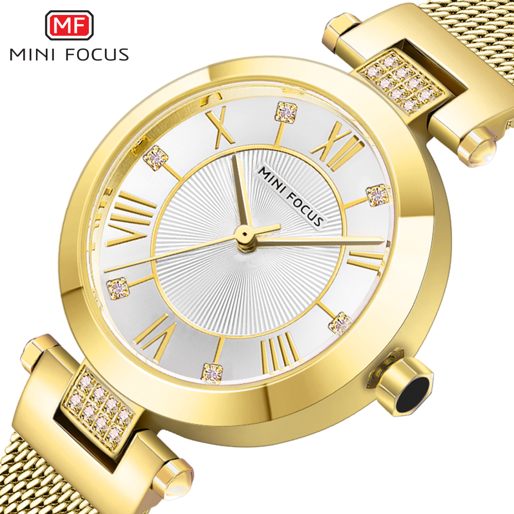 MINI FOCUS Fashion Elegant Women Watch Quartz Clock Ultra Thin Golden Mesh Strap Diamond Roman Numeral Design Ladies Wristwatch