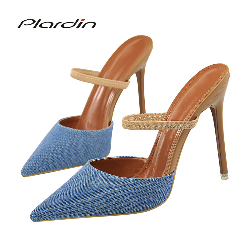 Plardin New Women Concise Fashion Ankle Strap Shoes Woman Pointed Toe Thin Heels Women's Buckle  Slingbacks Pumps High Heels
