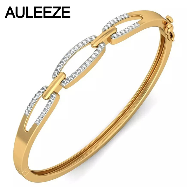Unique Chain Link Real Diamond Bangles Solid 14K Yellow Gold Engagement Bangles Natural Diamond Wedding Fine Jewelry