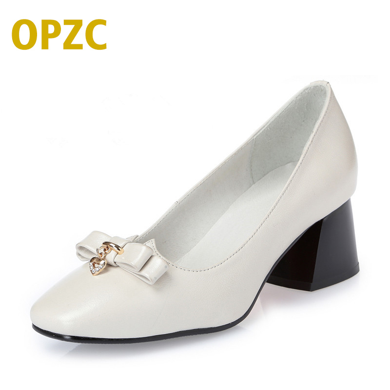 OPZC 2018 new genuine leather women shoes, autumn dress shoes women, Bow fashion sexy party shoes black High quality brand ilismaba new ladies fashion sexy autumn long sleeved brand dresses high quality printed knitted elastic fabric women s dress