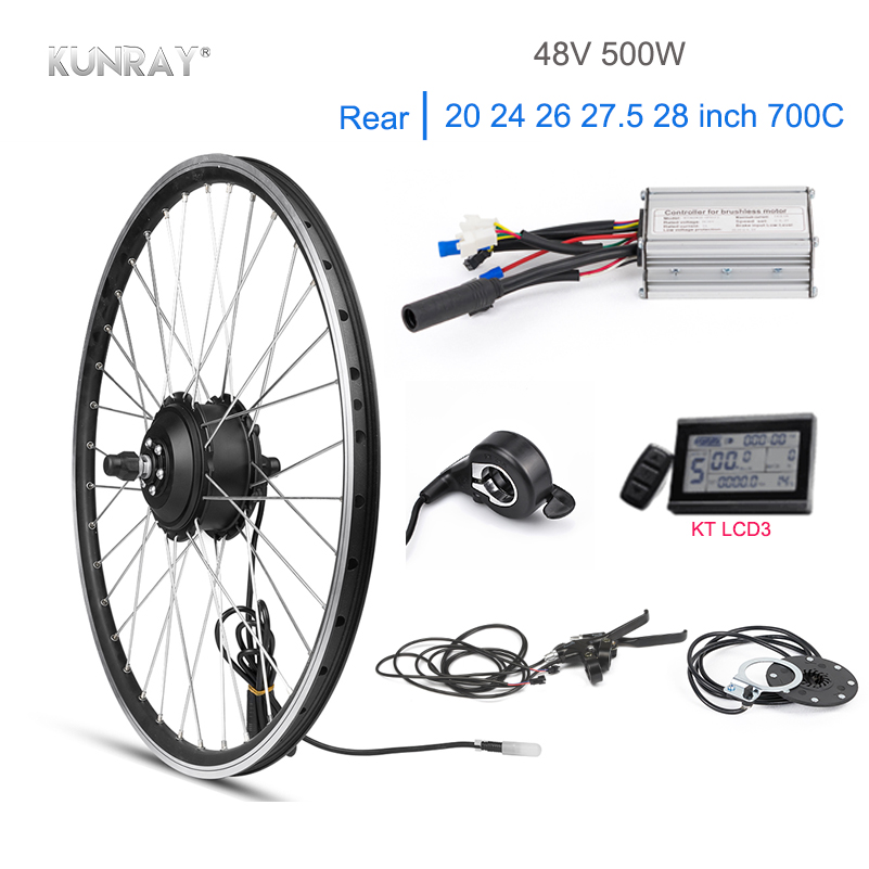 Kunray Electric Bike Kit 48V 500W Brushless Gear Hub Motor 20 24 26 700C Rear Motor Wheel For Electric Bicycle KT LCD3 DisplayKunray Electric Bike Kit 48V 500W Brushless Gear Hub Motor 20 24 26 700C Rear Motor Wheel For Electric Bicycle KT LCD3 Display