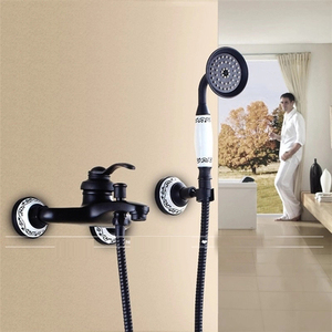 wholesale Black Oil Rubbed Solid brass wall mounted bathroom shower faucet with handheld showers Faucet 3-functions Mixer Valve