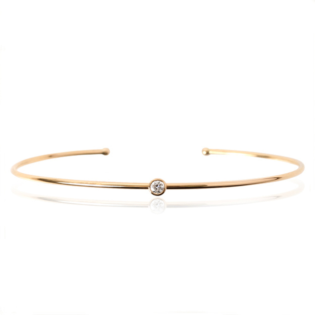 Package Set With 0 1 Ct Nature Diamond Bangles Open Single Bracelet 18k Gold Rose