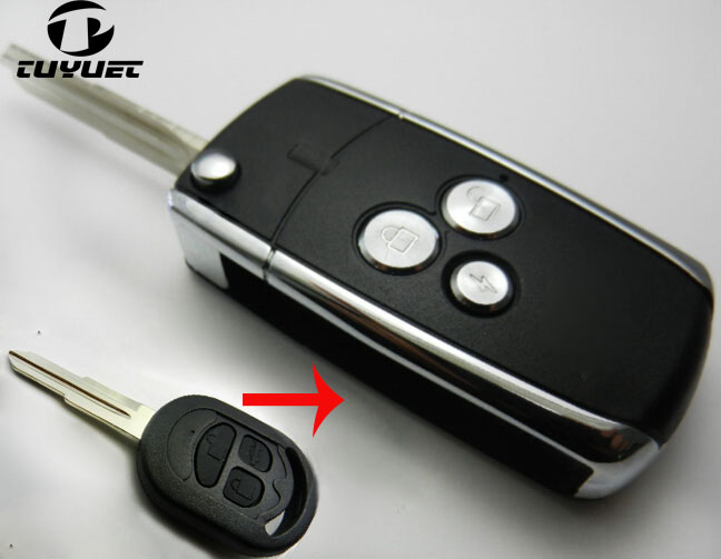 3 Tasten Geändert Schlagfernschlüsselober Auto Schlüsselrohlinge Klapp Fall für Buick Alte Excelle