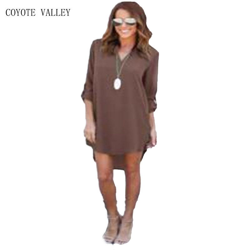 2017 Hot Sale New V-neck Puff Sleeve Cute Coyote Valley In The Of 2018, Womens Wear Short-sleeved Clothes Dress Vestidos