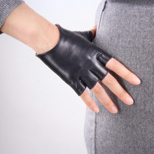 Lady White Genuine Leather Gloves Sheepskin Black Half Fingerless Ultra Short Driving TB06