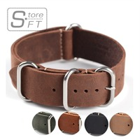 1PC Sales High Quality 18mm 20mm 22mm ZULU Leather Strap Watch Band Crazy Horse Genuine Leahter