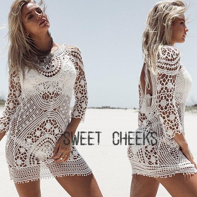 6bc8e54f61c4b Women Bikini Cover Ups Lace Hollow out Crochet Beach Robes Tunic Bathing  suit Pareo de Plage Beach Sarong Wrap