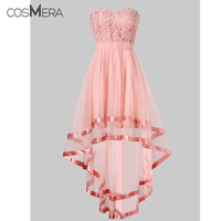 CosMera Pink Chiffon High Low Party Dress Summer Women Dresses Strapless Dress Sleeveless Short Front Long Back Party Gowns