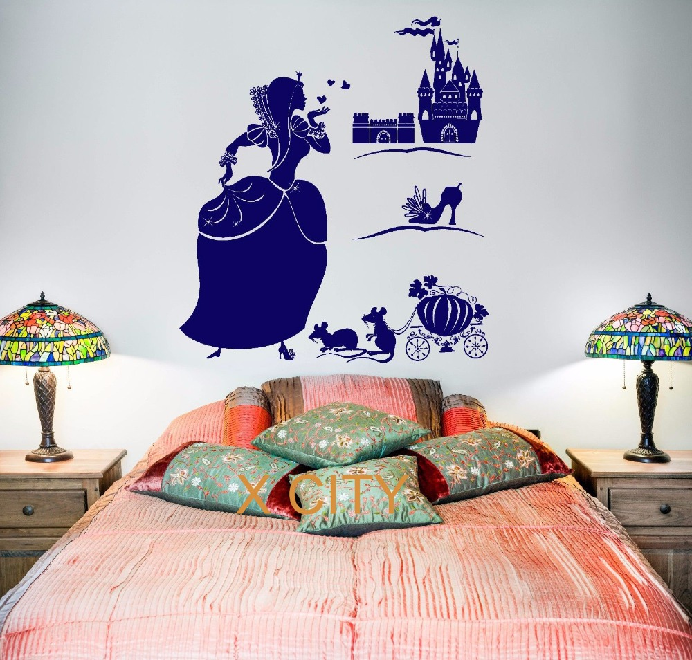 Buy cinderella magic fairy tale for - Childrens bedroom wall stickers removable ...