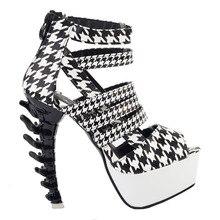 LF80640สีดำสีขาวS Trappy H Oundsฟันแพลตฟอร์มกระดูกรองเท้าแตะส้นสูงขนาด4/5/6/7/8/9/10