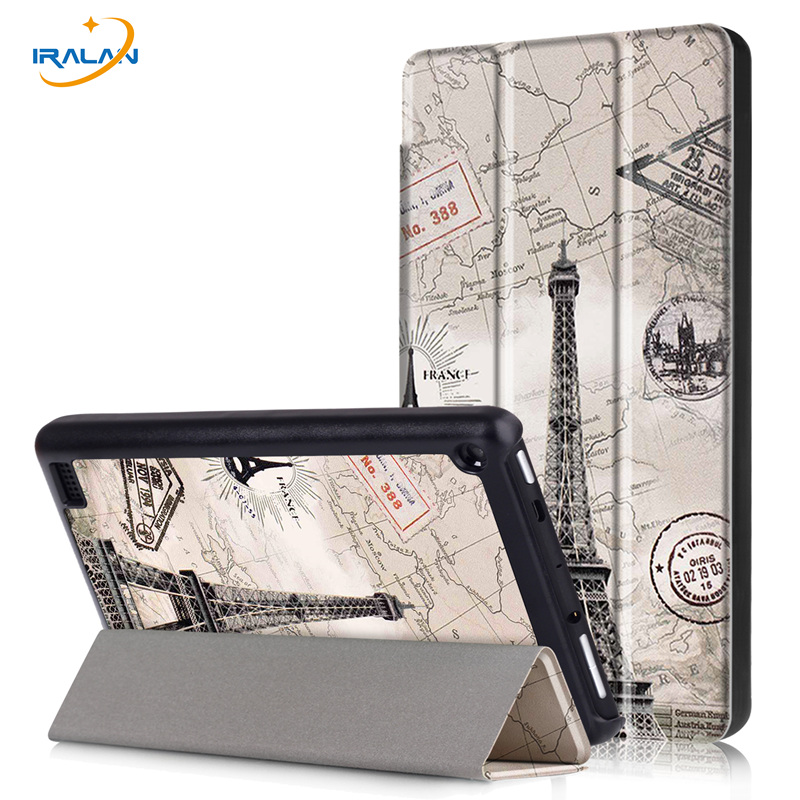 Luxury Tri-fold Color Print Stand PU Leather Case Cover For Amazon new Kindle Fire HD7 2017 Tablet Ultra thin Fundas+stylus+film new kindle fire hd8 flip pu leather case cover colorful print luxury protective stand shell for amazon new kindle fire hd 8 2016