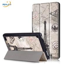 Lujo tri-fold Color de Impresión Soporte de LA PU Cubierta de Cuero Para El Amazonas nuevo Kindle Fire HD7 2017 Tableta Ultradelgada thin Fundas + stylus + film