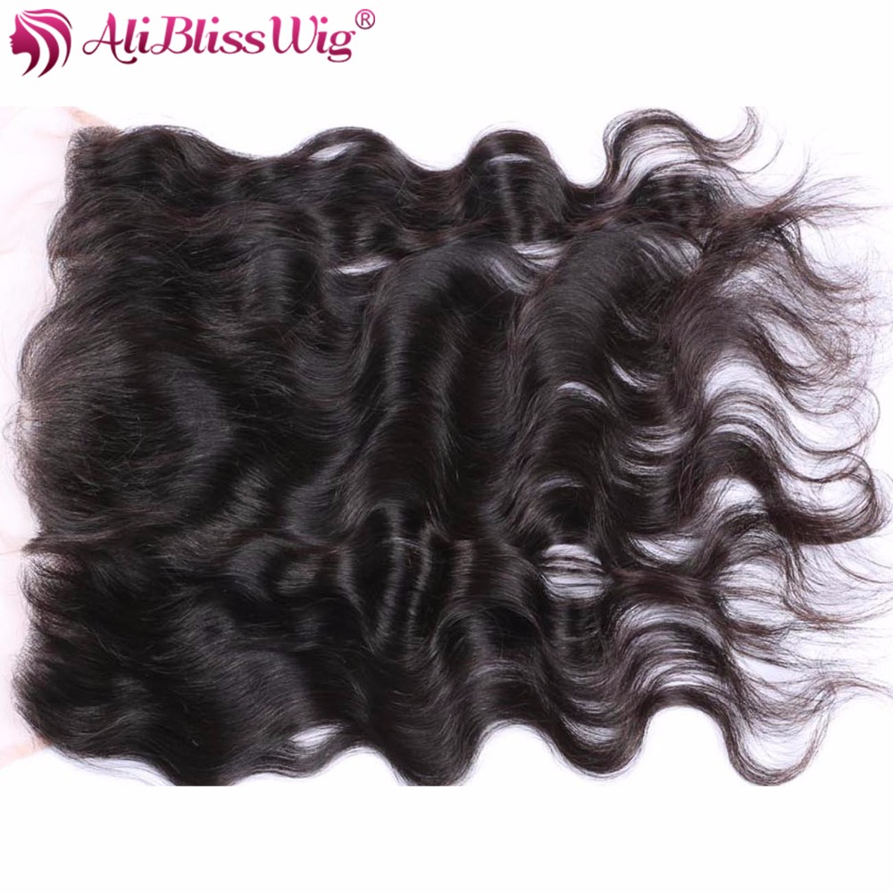 AliBlissWig 13x4 Pre Plucked Full Lace Frontal Closure Bleached Knots With Baby Hair Brazilian Body Wave