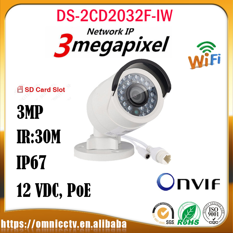 Hikvision 3MP POE IP Camera DS-2CD2032F-IW SD Card H.264 IR Onvif Night Version Infraed Outdoor CCTV Surveillance Bullet Camera