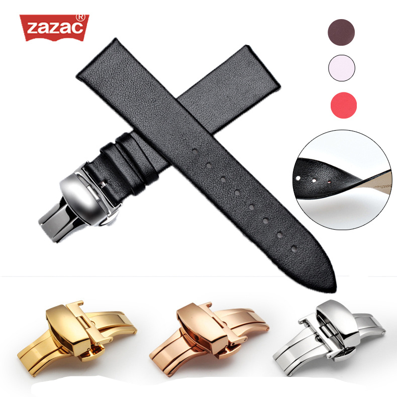 Zazac Genuine Leather Rose Gold buckle Watchband Soft Thin Watch Band Belt Suitable for Longines 12-18mm 20mm 22mm Strap Watches