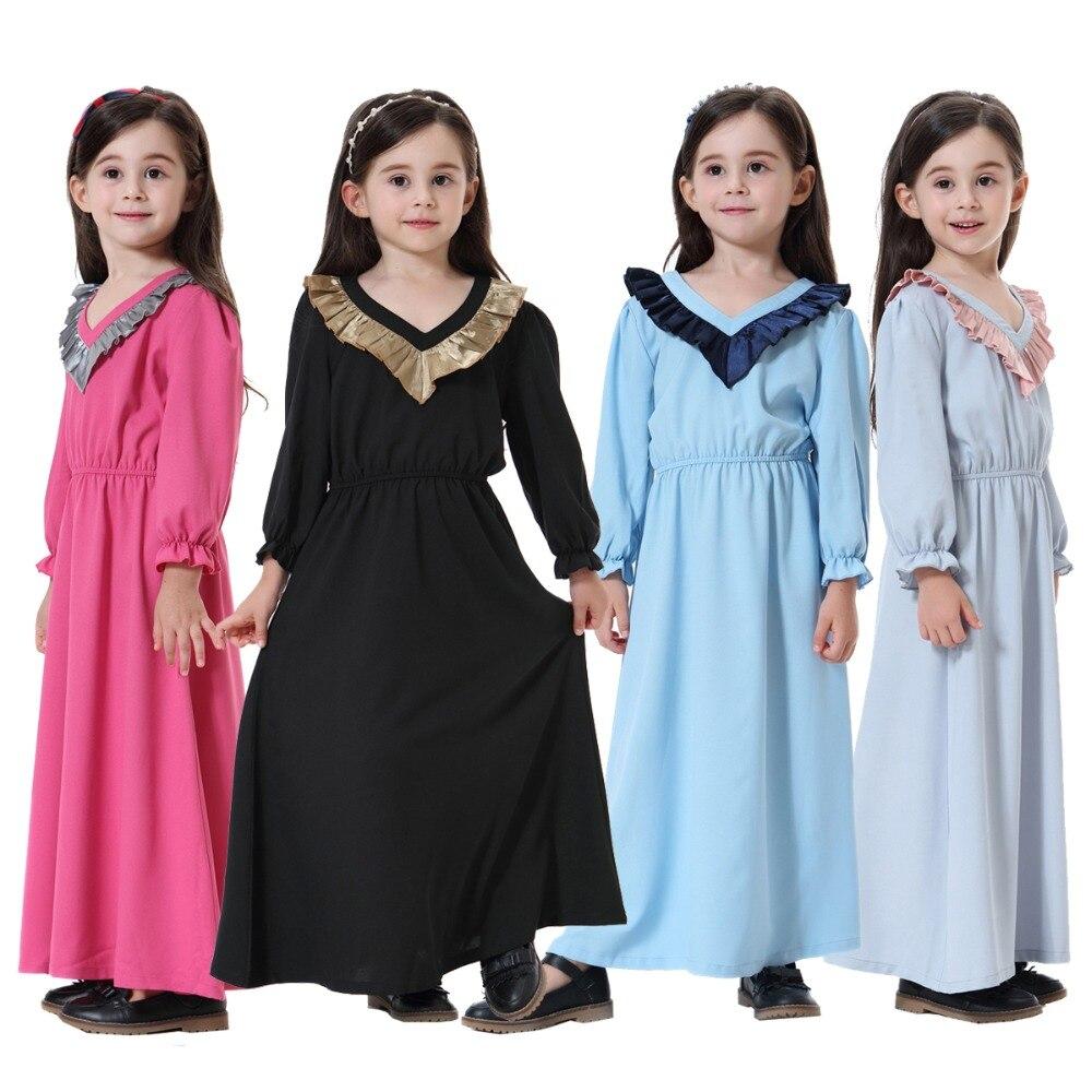 Girls V-neck ruffled contrast color dress Southeast Asia India Canada Arab Malaysian Musli