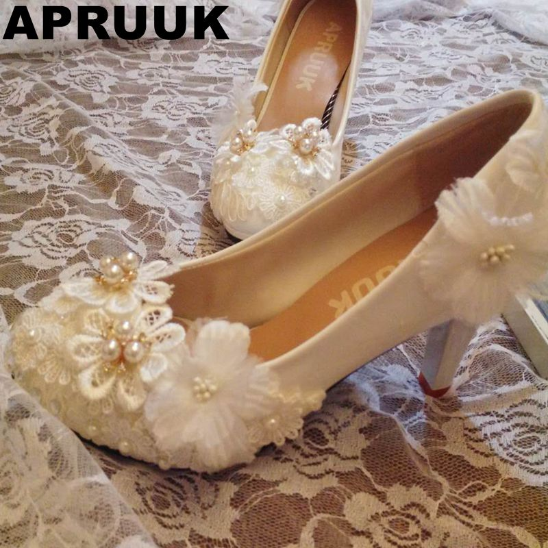 White lace flowers wedding shoes women female women's sweet handmade lace flowers brides party proms dress pumps shoes