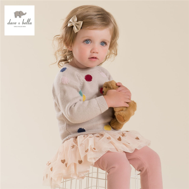 DB4218 dave bella autumn baby girl dots jacquard sweater muticolor pink apricot sweater cute top