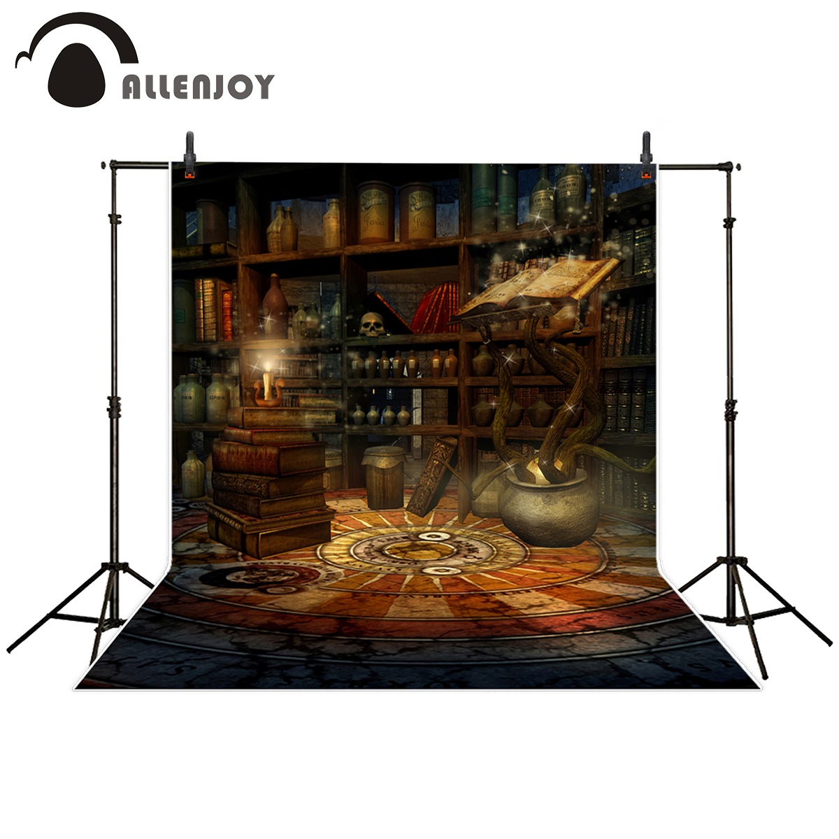 Allenjoy photography backdrop Mysterious Magic Book Shelf Candle Vintage Style background for photo studio camera fotografica thin vinyl vintage book shelf backdrop book case library book store printed fabric photography background f 2686