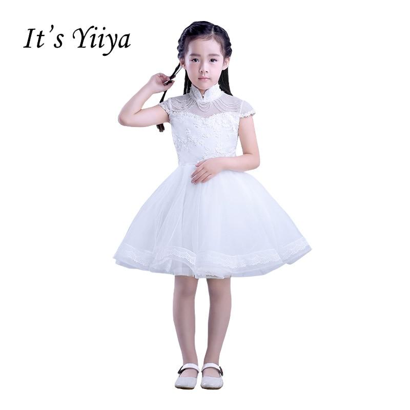 It's YiiYa Short Sleeves High Collar Chiffon Zipper Appliques Beading Lace   Flowers   Princess   Flower     Girls     Dress   Communion TS218