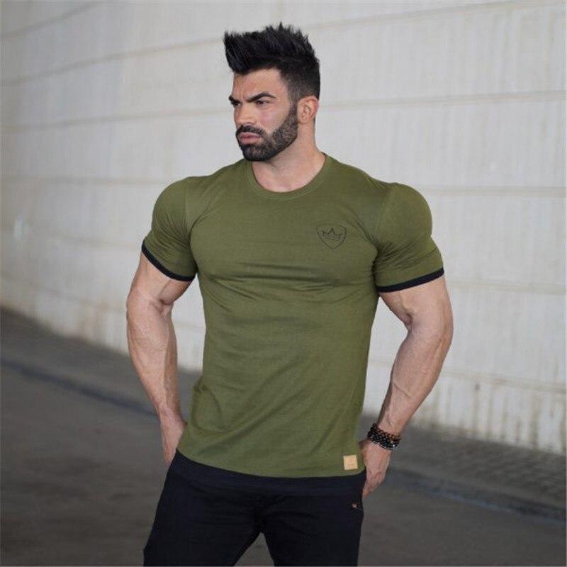 running - Summer Sport T Shirt Men Compression Shirt Fitness Tights Quick Dry Short Sleeve t shirt Men Tee Tops Cotton O-Neck gyms T-Shirt