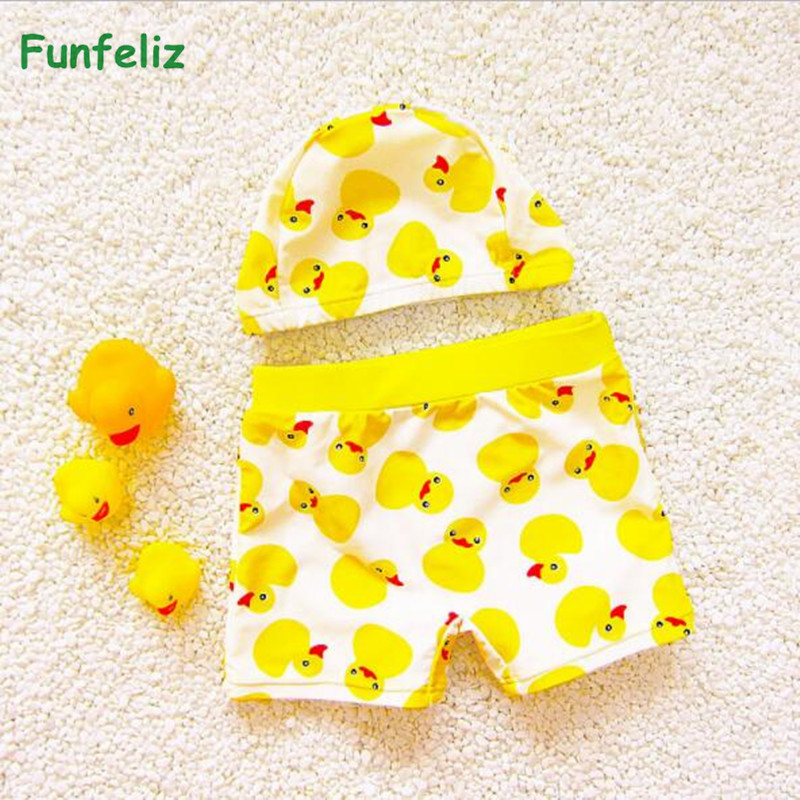Funfeliz Baby Boy swimwear with swimming cap Yellow Duck trunks for boys  Kids bathing suit Children Bather 1-10 Years